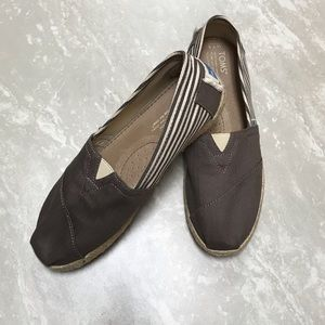 [Toms] Brown and Cream Stripe Espadrilles-Size 7.5